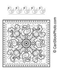 elegant swan coloring page