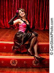 elegant, tänzer, in, moulin rouge, stil, auf, der, buehne
