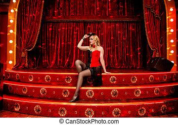 elegant, tänzer, in, moulin rouge, stil, auf, der, szene