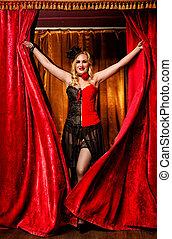 elegant, tänzer, in, moulin rouge, stil, kommt, der, buehne
