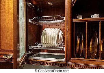 elegant, tafelgeschirr, küche- schrank, stilvoll