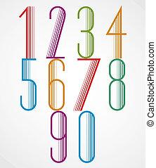 Elegant Tall Striped retro style numbers set.