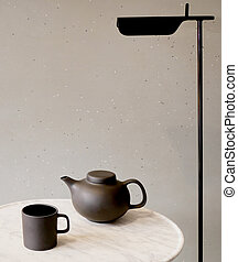 elegant tea set set on the table