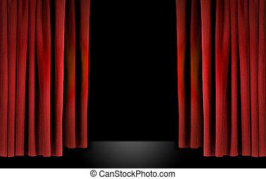 elegant, teater, arrangera, med, röd, sammet ridå