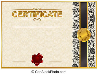 Elegant template of certificate, diploma with lace ornament,...