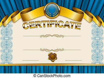 Elegant template of certificate, diploma with lace ornament...