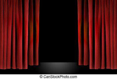Elegant theater stage with red velvet curtains - Old ...