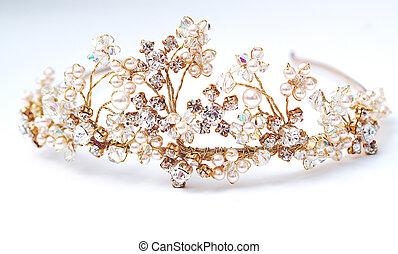 Elegant Tiara - Wedding Tiara in stunning gold , crystals...