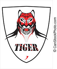 Elegant Tiger Head over the Shield