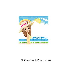 Elegant tourist on vacation - card