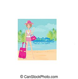 elegant tourist on vacation