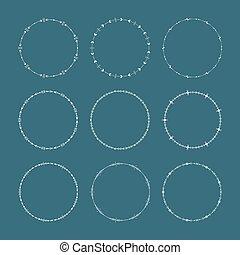Elegant traditional tribal round frames. Set of 9 elements.