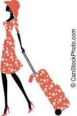 Elegant Traveller - Illustration of a young elegant woman...
