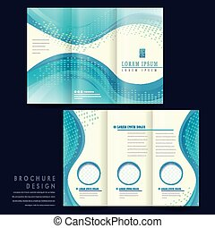 elegant tri-fold brochure template design with blue...
