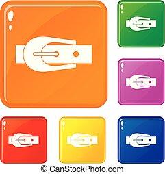 Elegant trousers belt icons set vector color