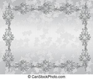 elegant, trouwfeest, grens, uitnodiging