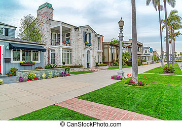 Elegant two storey houses and tall palm trees in scenic Long Beach California
