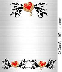 elegant, uitnodiging, trouwfeest, randjes