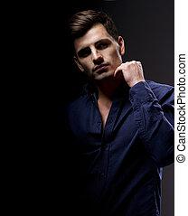 elegant, ung, stilig, man., studio, mode, portrait.