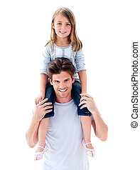 elegant, vader, geven, zijn, dochter, ritje op de rug rit