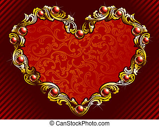 elegant, valentine, hintergrund, mit, rubine