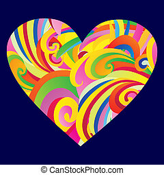 Elegant Valentine`s day heart. Colored heart abstract