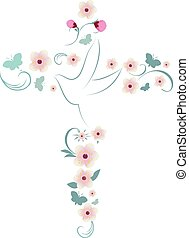 Elegant vector Christian cross isolated with dove pink flowers and butterflies