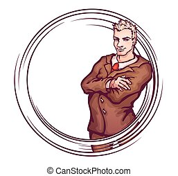 elegant, vector, illustratie, man