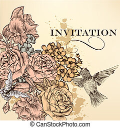 Elegant vector invitation card with roses