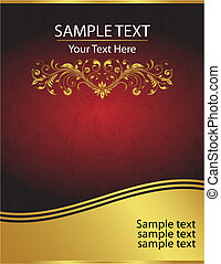 Elegant Vector Red and Gold Background Template - And...