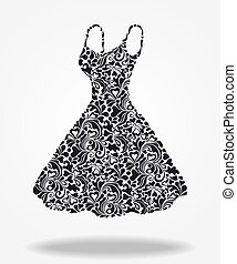 Elegant vector silhouette of isolated beautiful back dress