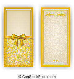 Elegant template luxury invitation, card with lace ornament, bow, place for text. Floral elements, ornate background. Vector illustration EPS10.