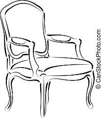 elegant, vektor, armchair., illustration., sketched