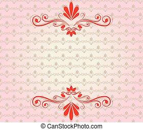 Elegant vintage background with floral ornaments. Vector