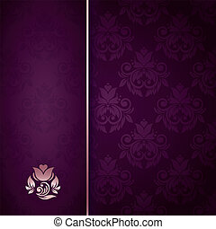 Elegant vintage card with damask seamless background (background