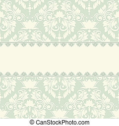 Elegant vintage card with damask seamless background (background