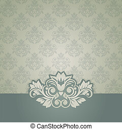 Elegant vintage card with damask seamless background