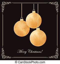 Elegant vintage card with golden Christmas-tree balls