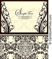 Elegant vintage damask invitation card