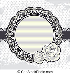 Elegant Vintage lace frame with the roses