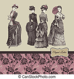 Elegant vintage ladies - Vector illustration - elegant...