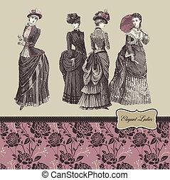 Elegant vintage ladies - Vector illustration - elegant...
