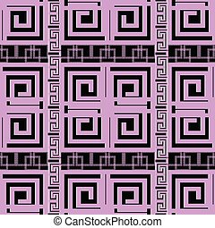 Elegant violet greek key meander geometric seamless pattern. Mod