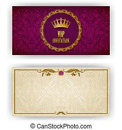 elegant, vip, luxus, schablone, einladung