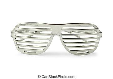 elegant, vit, solglasögon, isolerat