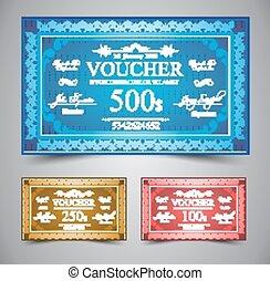 Elegant Voucher Design for 500, 250 or 100 dollars payment.