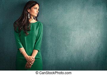 elegant, vrouw