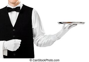 Elegant waiter holding empty silver tray on hand isolated on...