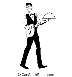 elegant waiter with a tray - Vector illustration of waiter...