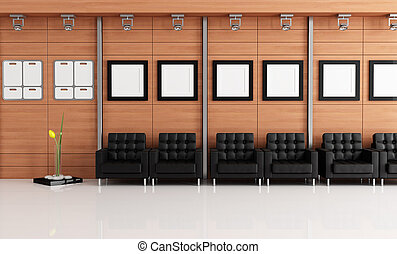 elegant waiting room with black armchair and wooden panel -...